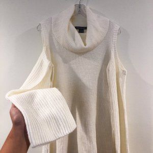 🍁Kate & Mallory Cold Shoulder Knit Cowl Sweater L